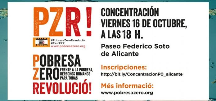 CONCENTRACIÓN DE POBRESA ZERO EN ALICANTE 16 Octubre a las 18h en Federico Soto