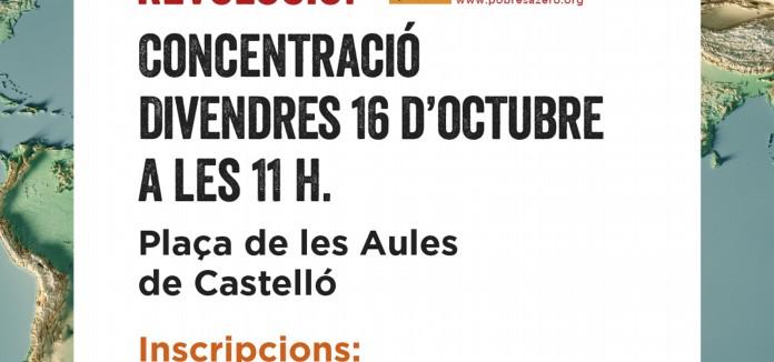 CONCENTRACIÓ DE POBRESA ZERO EN CASTELLÓ 16 Octubre a les 11h en Pl. de les Aules