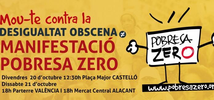 POBRESA ZERO convoca movilizaciones y actividades en 20 municipios valencianos contra la #DesigualdadObscena