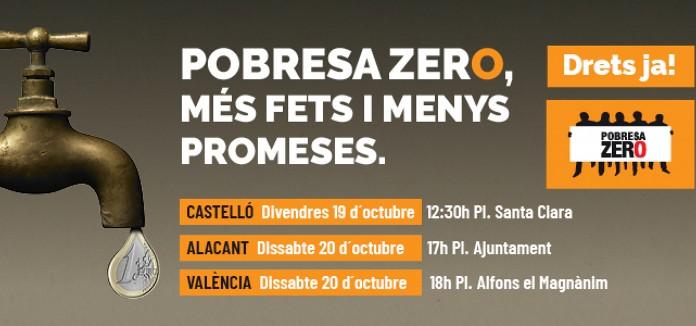 POBRESA ZERO exigeix #MesFetsiMenysParaules i convoca movilizacions contra la pobresa en tota la Comunitat Valenciana